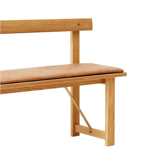Form & Refine Position Bench zitbank van eikenhout met leren kussen