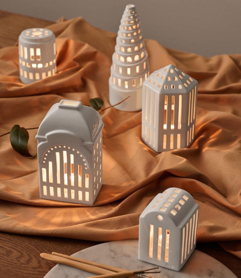 Urbania licht house tivoli gallerie, tower, theelichthouders van kahler design